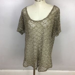 Maurices Open Knit Top Tan Large